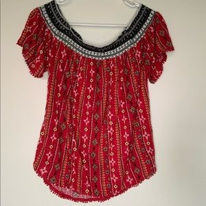 NWT off the shoulder spring printed top